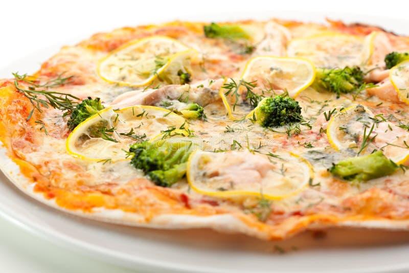 Salmon Pizza fotografia stock libera da diritti