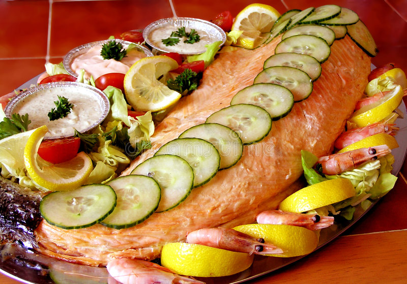 Salmon on a Platter royalty free stock photo