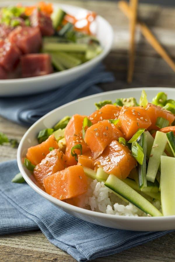 Salmon Poke Bowl organico crudo fotografia stock libera da diritti