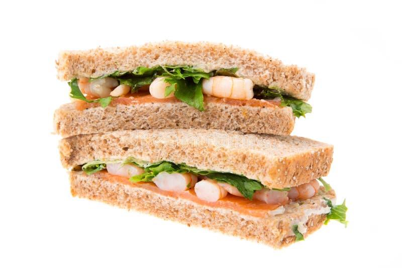Salmon and prawn sandwich royalty free stock image