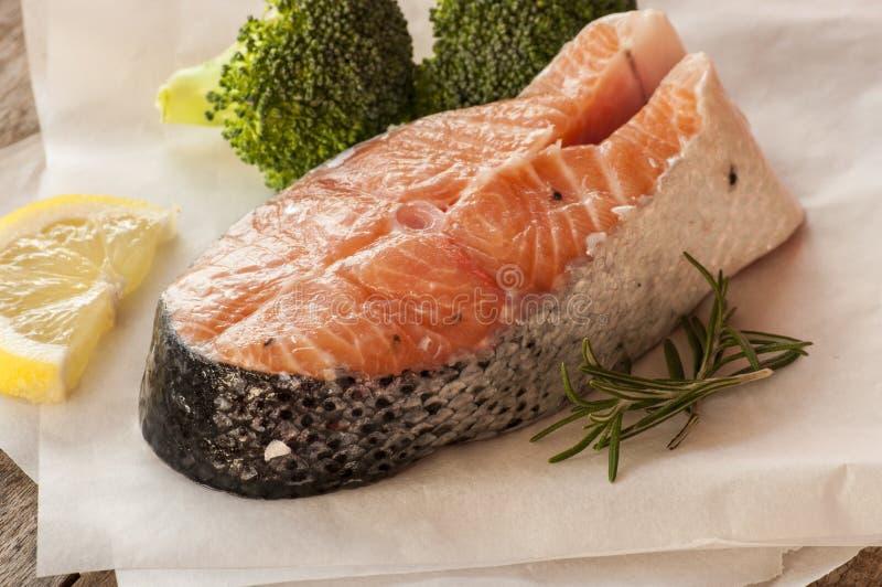 Salmon raw. salmon red fish steak stock photo