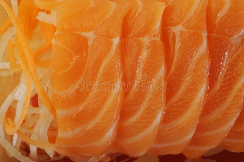 Salmon raw sashimi. On background royalty free stock photography