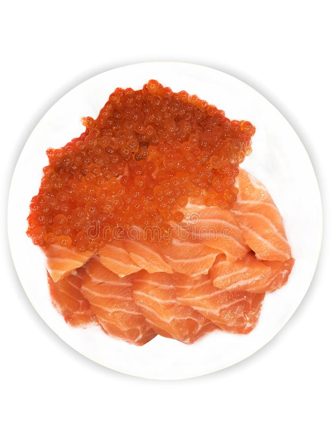 Salmon roe sashimi and salmon sashimi. On white background,with clipping path royalty free stock image