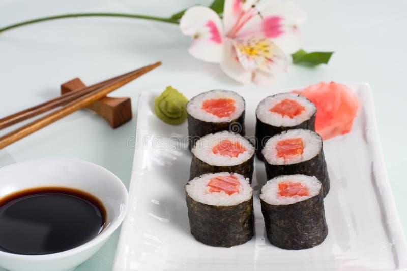 salmon roll royalty free stock photo