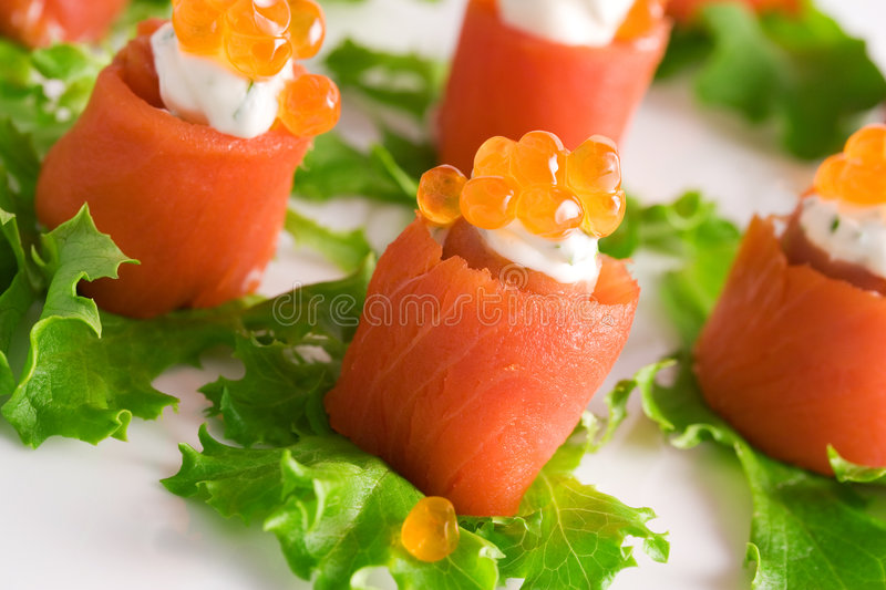 Salmon rolls royalty free stock images