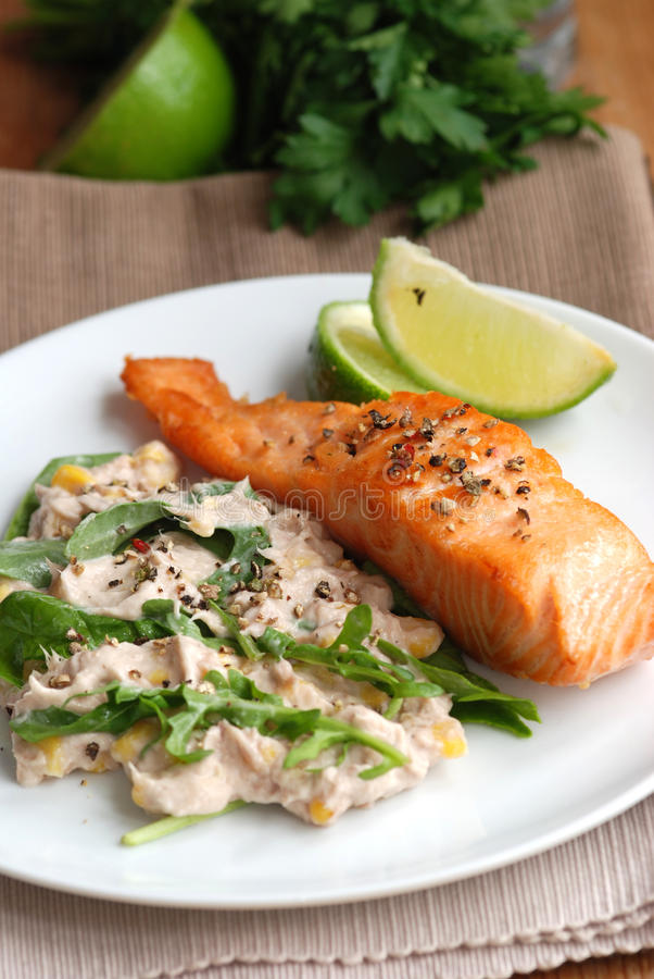 Download Salmon with salad stock photo. Image of fresh, meal, spinach - 15568150