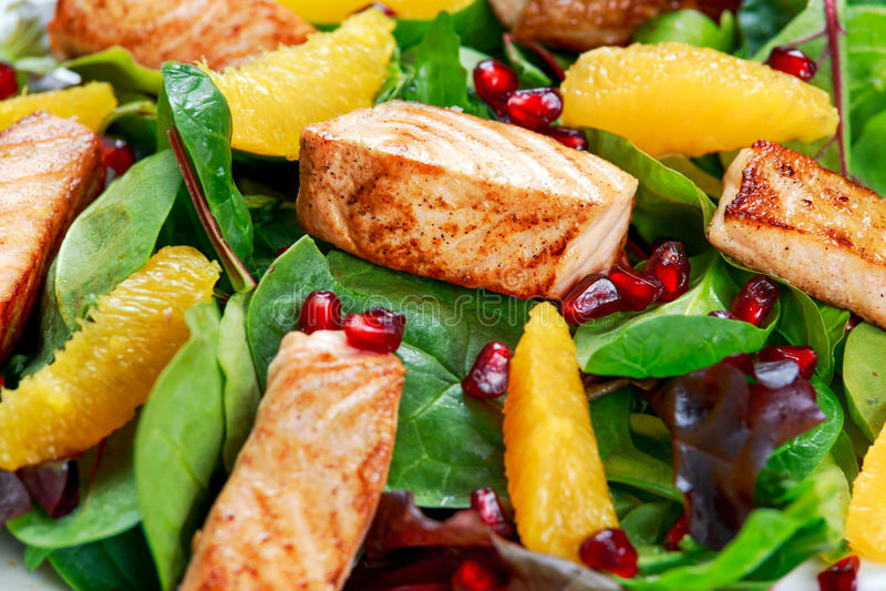 Salmon Salad fresco com vegetais, romã e laranja imagens de stock royalty free
