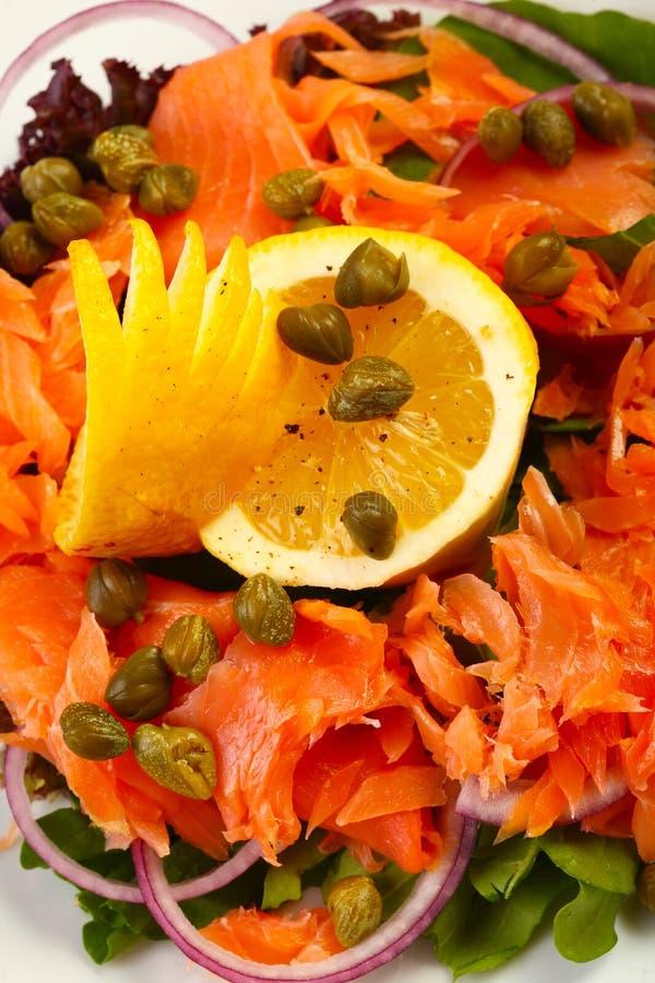 Salmon salad in restaurant stock photo