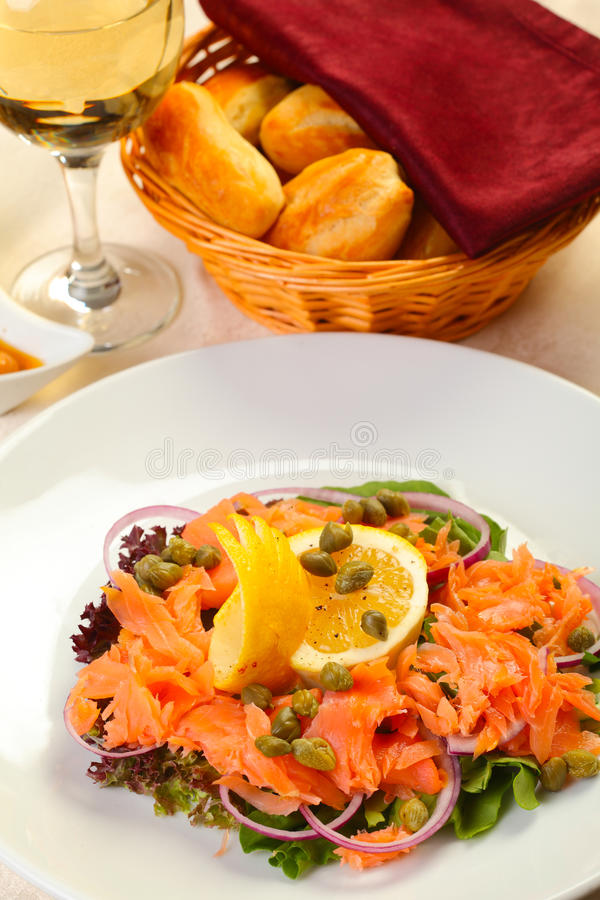 Salmon salad in restaurant stock images