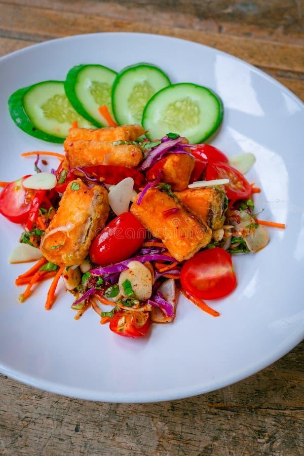 Salmon salad Thai style stock images