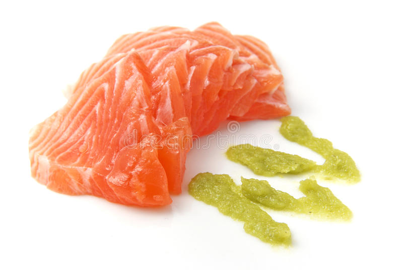 Salmon Sashimi. Delicious salmon sashimi with wasabi stock photos
