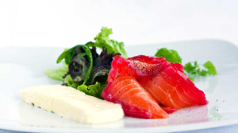 Salmon sashimi. On a plate stock photo