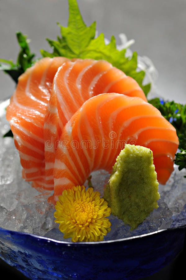 Salmon sashimi. Slice Salmon with wasabi stock images