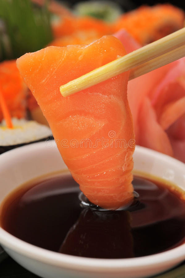 Salmon Sashimi. Fresh salmon Sashimi, japanese cuisine royalty free stock photography