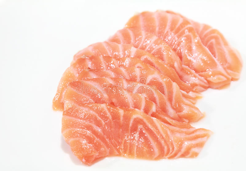 Salmon sashimi. Isolated raw salmon as a sashimi stock photography