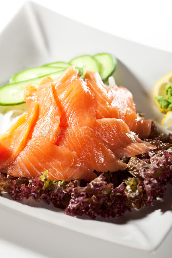 Salmon Sashimi royaltyfri fotografi