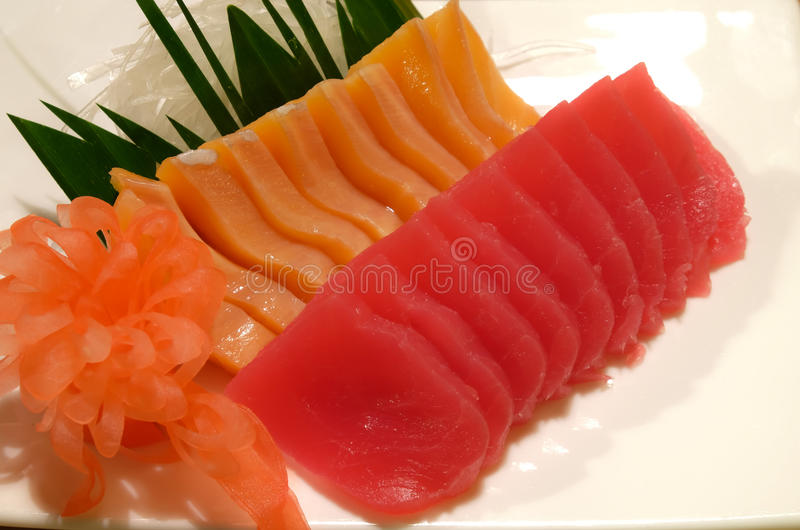 Salmon sashimi. And akamo sashimi royalty free stock image