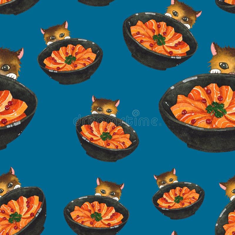 Salmon Sashimi Bowl en Leuke Cat Peeking Watercolor vector illustratie