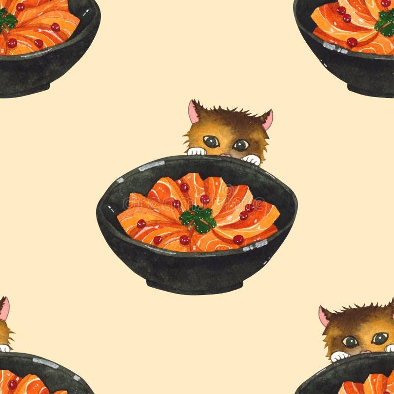 Salmon Sashimi Bowl en Leuke Cat Peeking Watercolor De naadloze achtergrond van de illustratie royalty-vrije illustratie