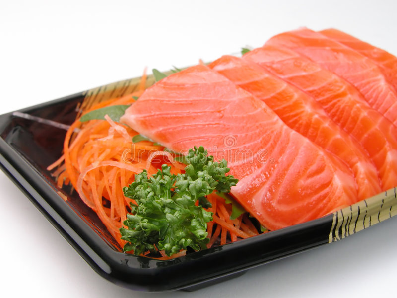 Salmon sashimi close-up royalty free stock photos