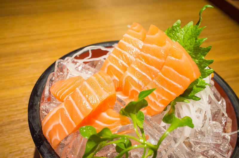 Salmon sashimi. Fresh salmon sashimi on ice stock image