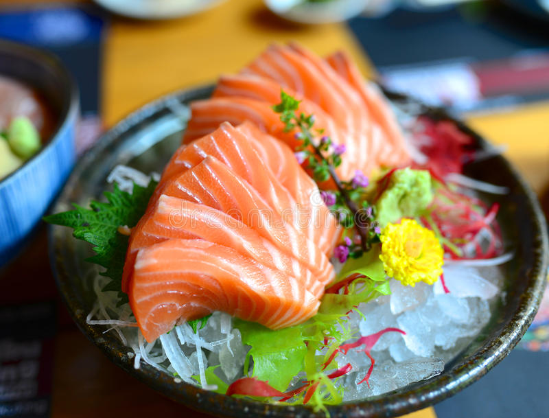 Salmon Sashimi. Fresh Salmon Sashimi Japanese Food royalty free stock photo