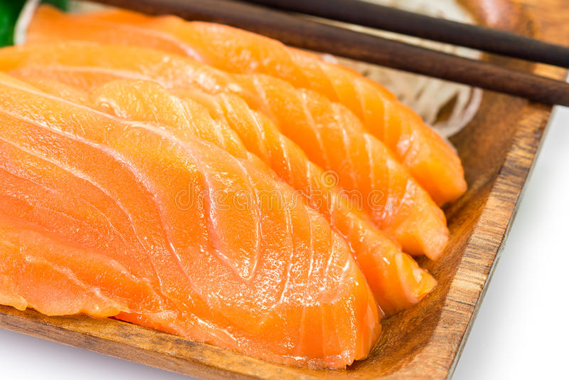 Salmon sashimi. Fresh salmon sashimi japanese food on wooden dish stock images