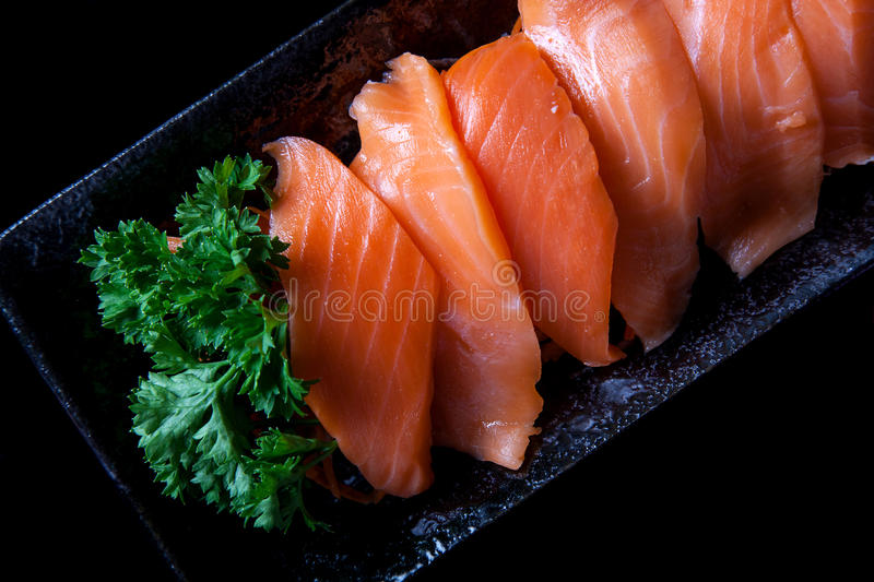 Salmon sashimi. For healthy eating royalty free stock photos
