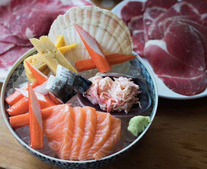 Salmon Sashimi Japanese Food Set imágenes de archivo libres de regalías