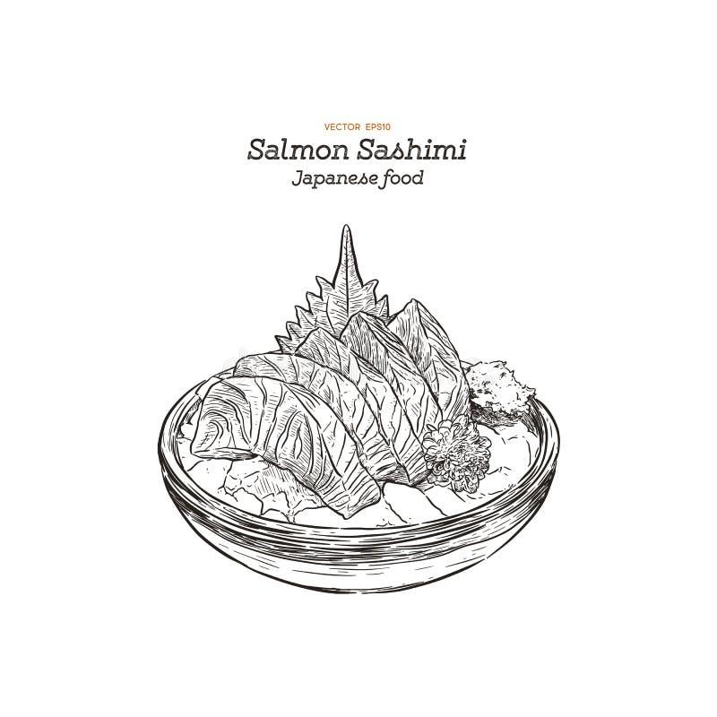 Salmon sashimi, raw fish in traditional Japanese style vector illustration