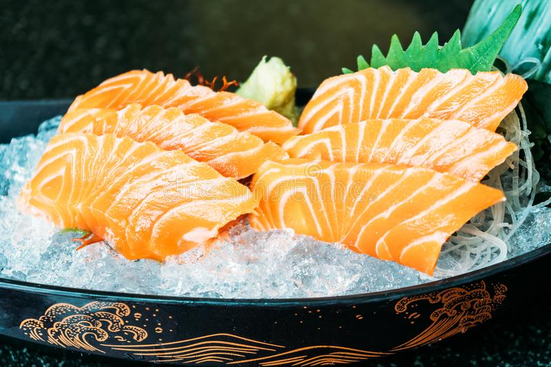 Salmon sashimi. Raw and fresh salmon meat sashimi - Japanese food style royalty free stock images