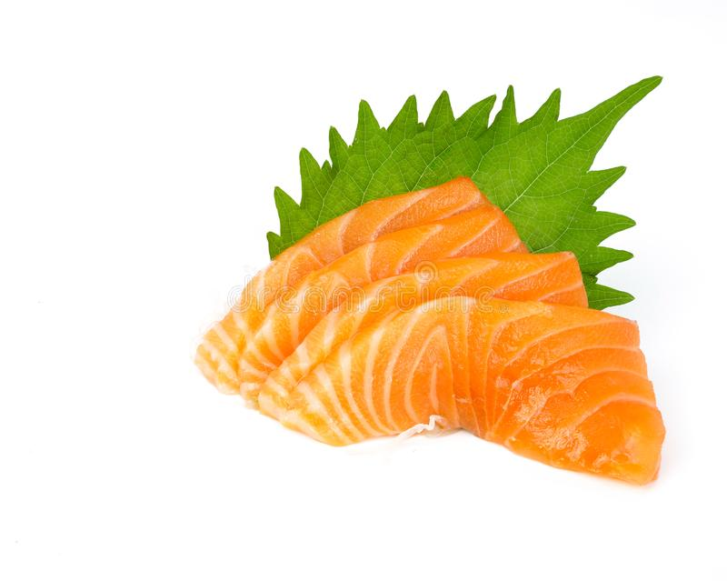 Salmon sashimi. Raw salmon sliced & x28;sashimi in Japanese& x29;, isolated on white background stock images