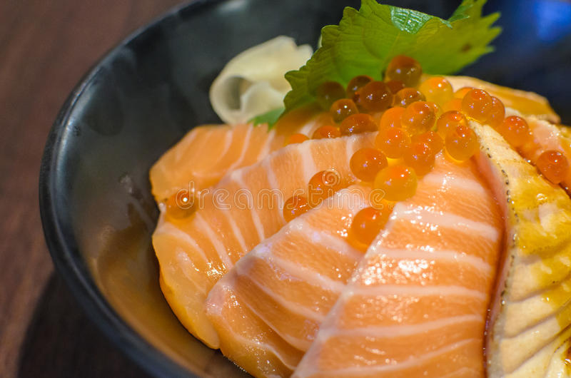 Salmon Sashimi Rice and Salmon Eggs. Salmon Sashimi Rice and Salmon Eggs ready to serve in japanese restaurant stock images