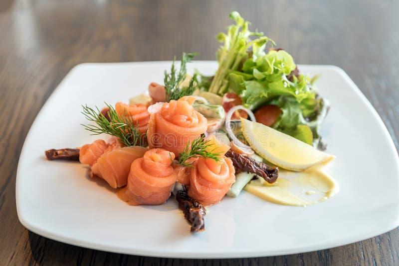 Salmon sashimi salad royalty free stock image