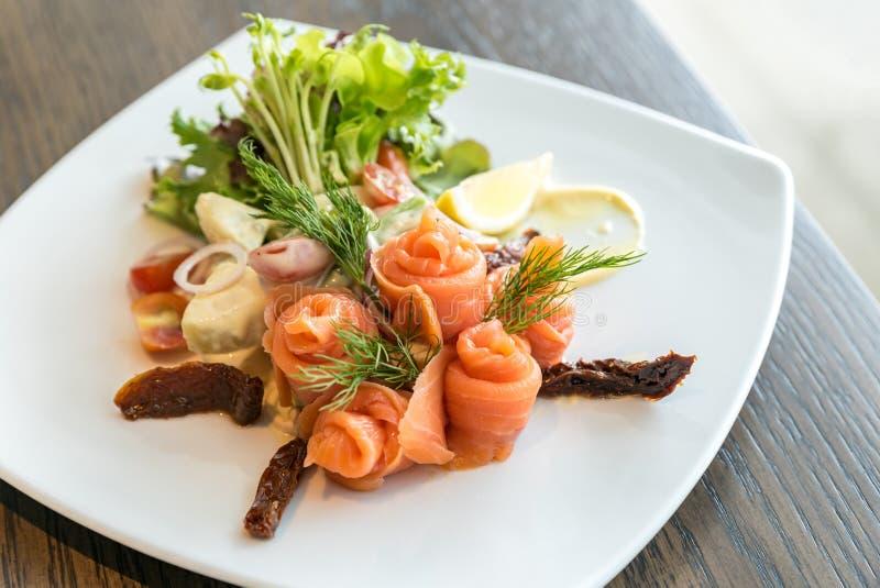 Salmon sashimi salad royalty free stock photo