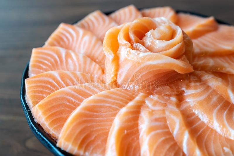 Salmon Sashimi. Set, gourmet japanese freshness cuisine royalty free stock photos