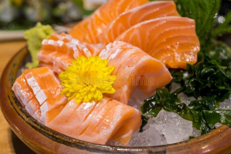 Salmon sashimi set stock photo
