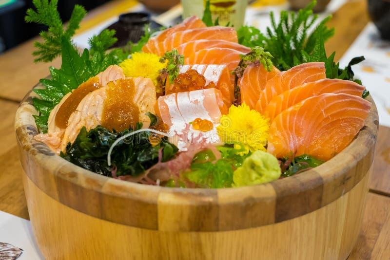 Salmon sashimi set stock photography
