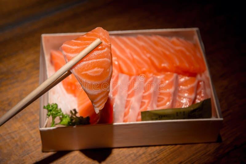 Salmon Sashimi. Traditionally Eaten of Japanese , very Fresh Raw stock photos