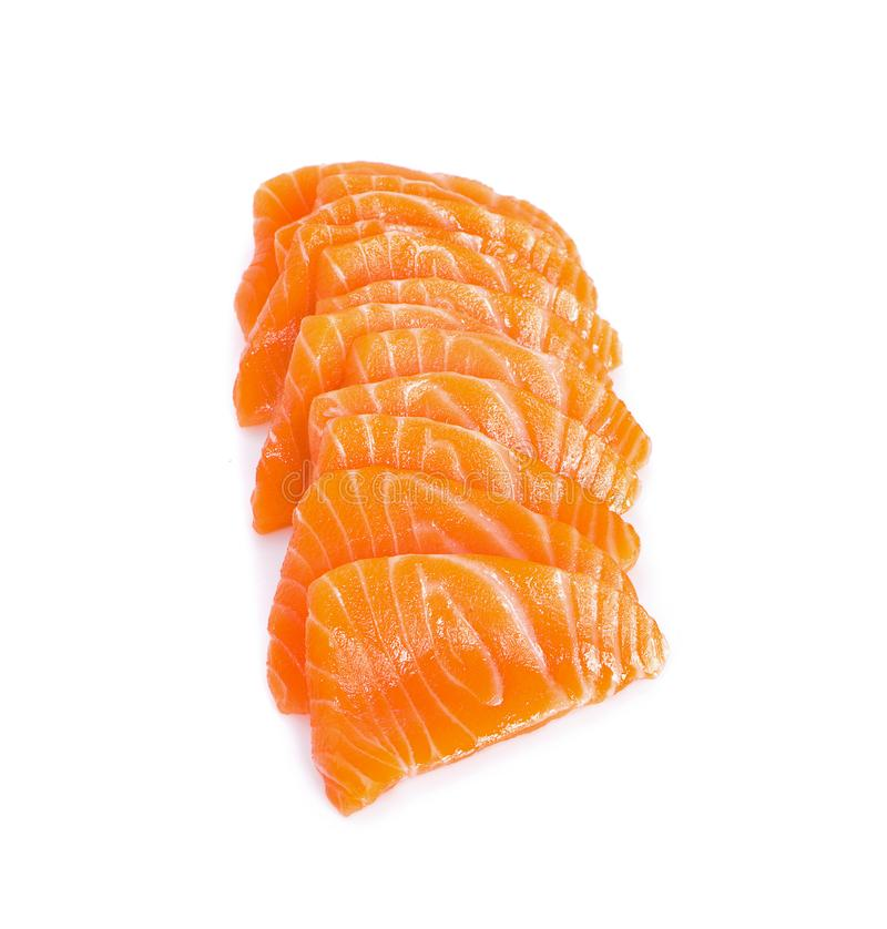 Salmon Sashimi White Background crudo fatto scorrere fotografie stock