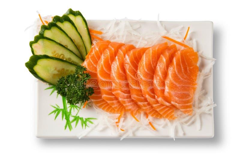 Salmon sashimi with withe plate isolated on white background royalty free stock image