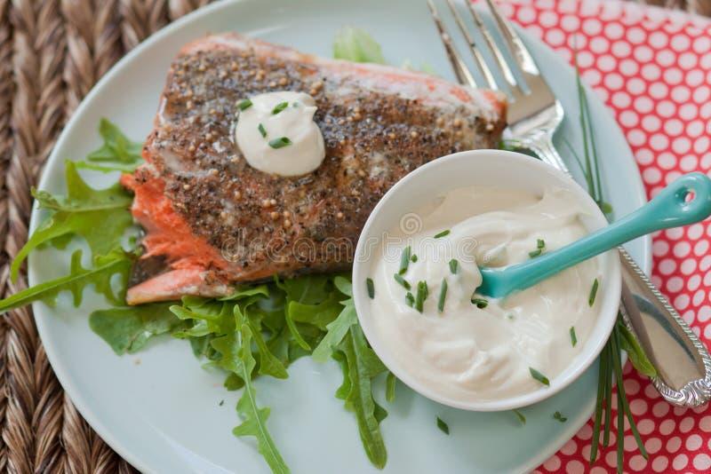 Salmon With Sauce Stock Photos