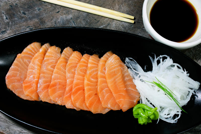 Salmon seshimi royalty free stock photo