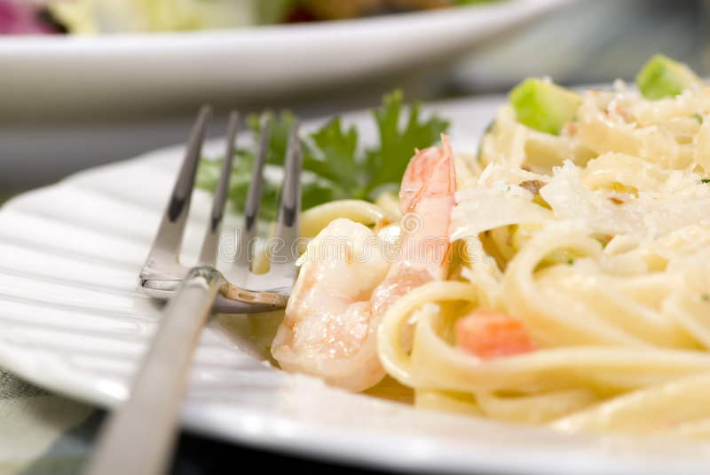 Download Salmon And Shrimp Fettuccine Stock Photo - Image: 2984214