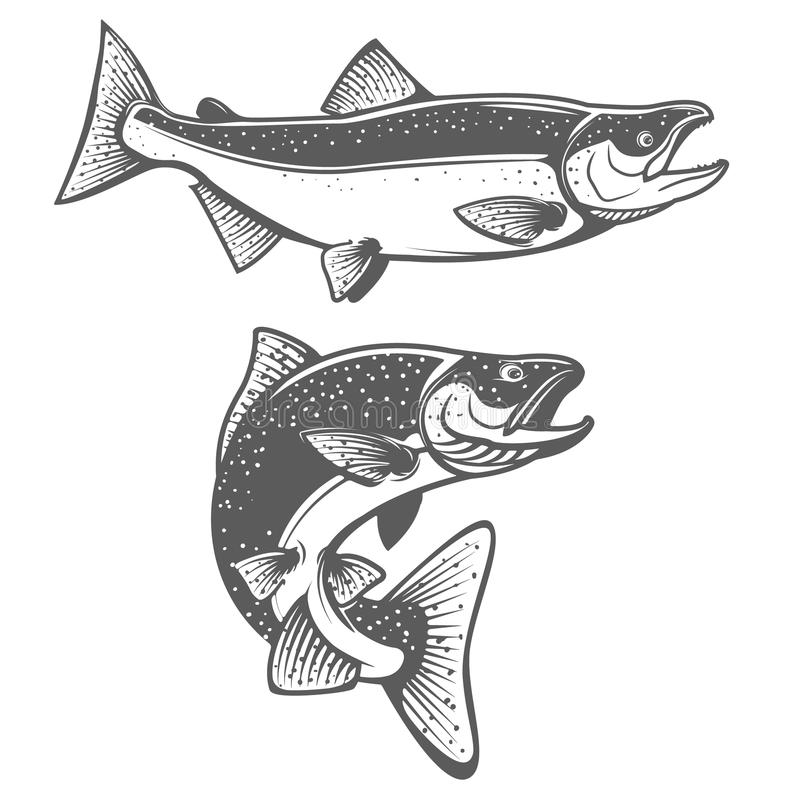 Salmon silhouettes. Fresh seafood. Salmon fishing. stock illustration