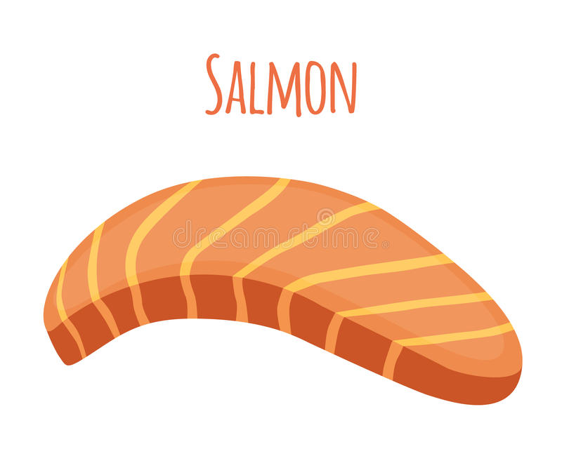 Salmon Slice Stycke av fisken, filé, fiskbiff Plan stil stock illustrationer