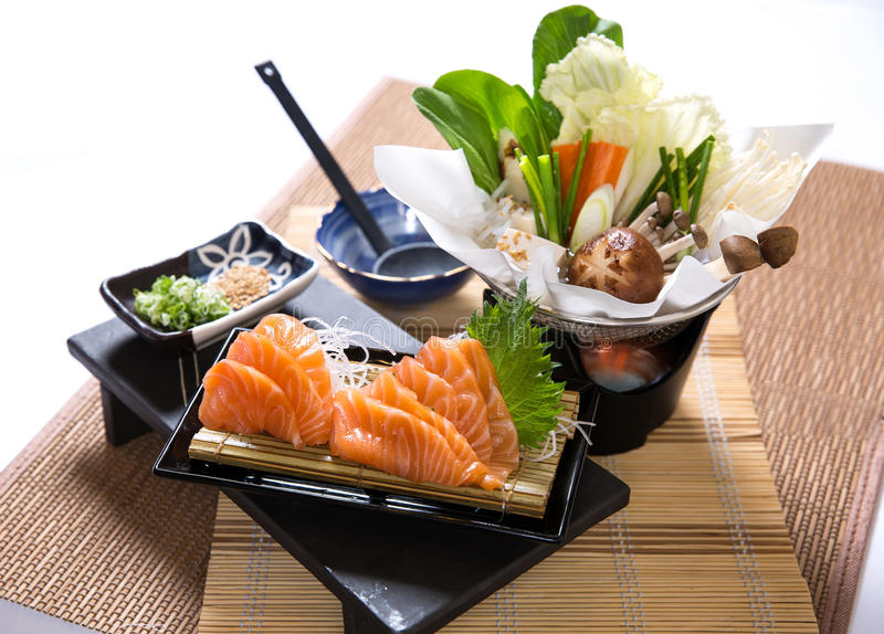 Salmon Slices Hotpot stockfoto
