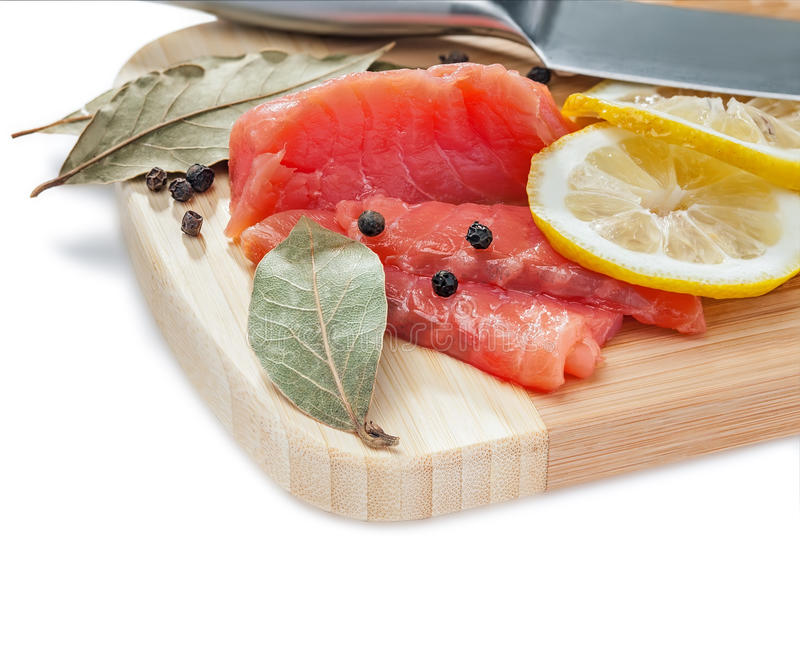 Download Salmon Slices On The Wooden Board Stock Image - Image: 25137759