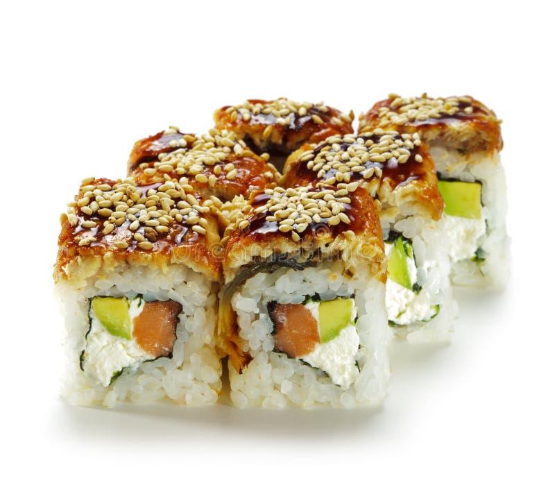 Salmon And Smoked Eel Maki Sushi Royalty Free Stock Photos