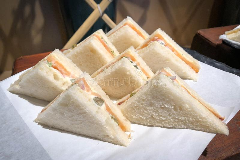 Salmon smoked sandwiches. On the tray royalty free stock photography